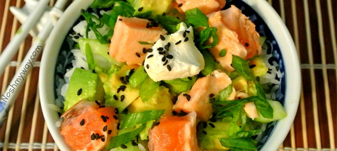 trendy slank sushi bowl