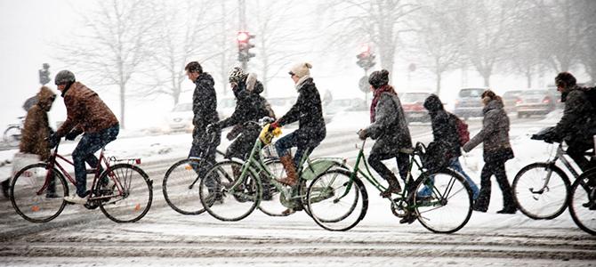 winterse kou op de fiets